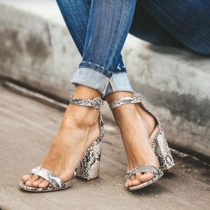 Shoes - Snake skin animal prints heels sandals